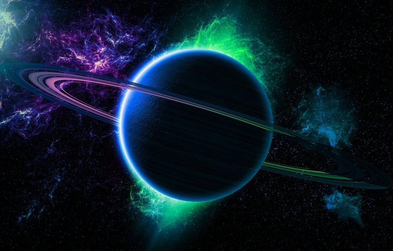 Photo wallpaper green, light, Star, blue, planet, Sci FI