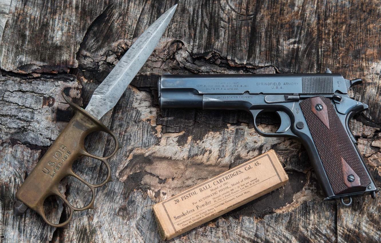 Photo wallpaper gun, weapons, knife, model, 1911, trench, «U.S.1918 mark I», Springfield Armory