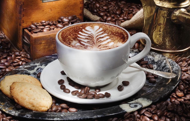 Photo wallpaper foam, pattern, coffee, grain, cookies, Cup, cappuccino, saucer, tray, locker, Turk, latte art