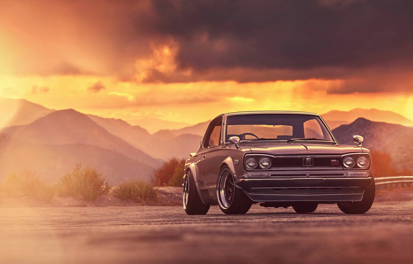 Photo wallpaper Nissan, GTX, Car, Classic, 2000, Front, Sunset, Skyline, Old