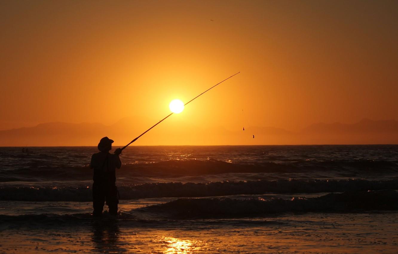 Photo wallpaper waves, sport, beach, photography, sea, landscape, nature, sunset, water, sun, man, silhouette, fishing, Fisherman