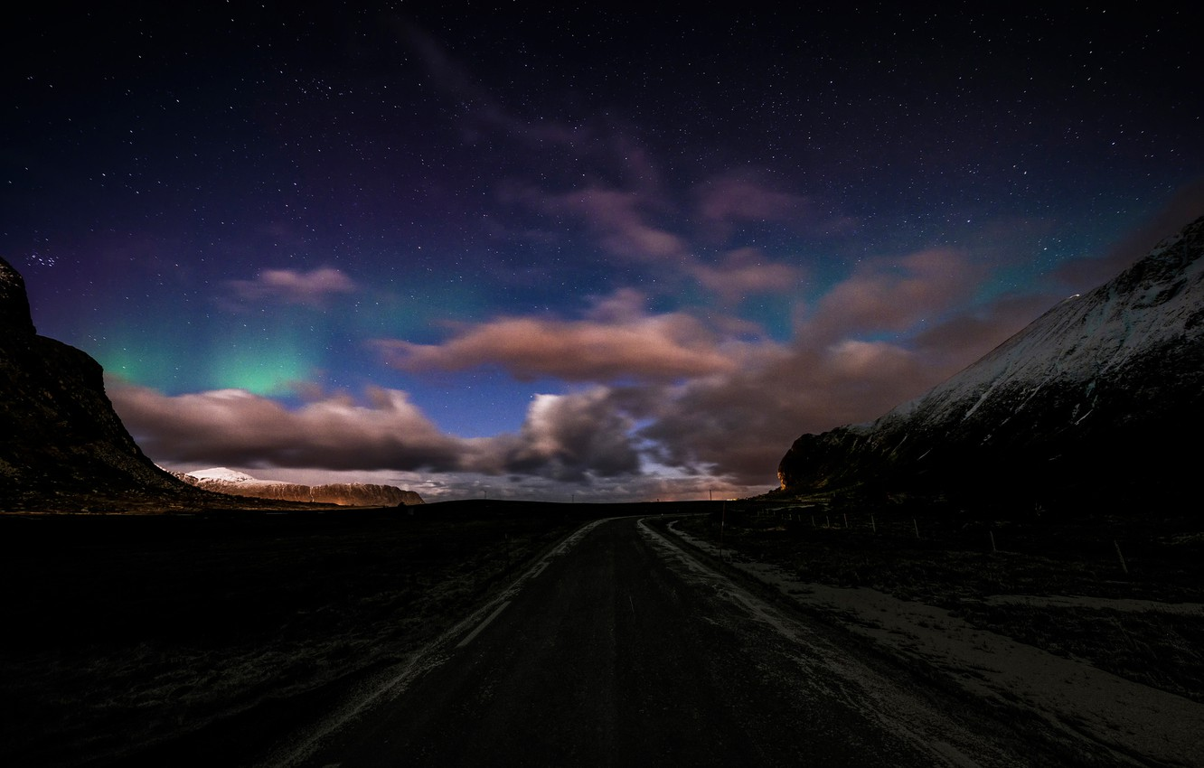 Photo wallpaper road, the sky, clouds, stars, Norway