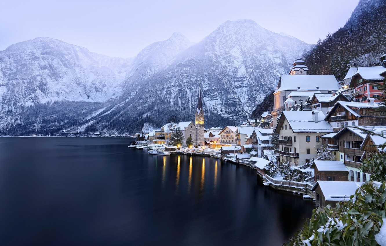 Photo wallpaper winter, snow, mountains, lake, Austria