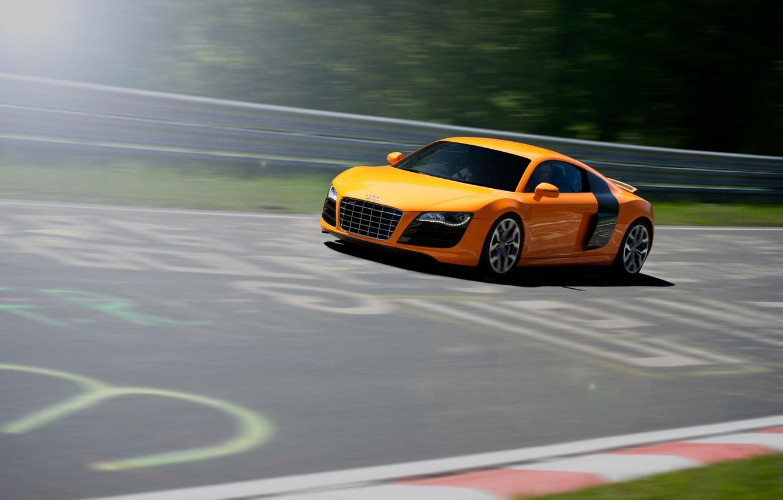 Photo wallpaper Audi, Orange, Speed, Orange, Speed, Supercar, Track, Supercar