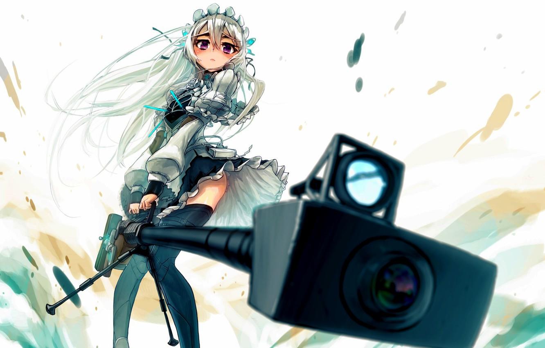 Photo wallpaper look, girl, weapons, sight, sniper rifle, clips, Chaika the coffin, Hitsugi no Chaika, Chaika Trabant
