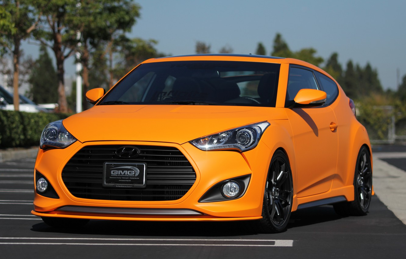 Photo wallpaper turbo, hyundai, orange, veloster