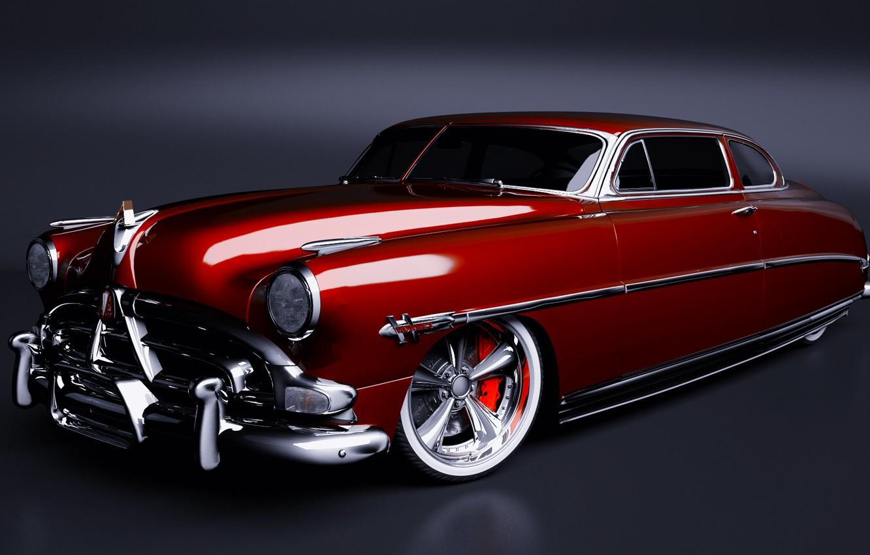 Photo wallpaper retro, red, retro, hotrod