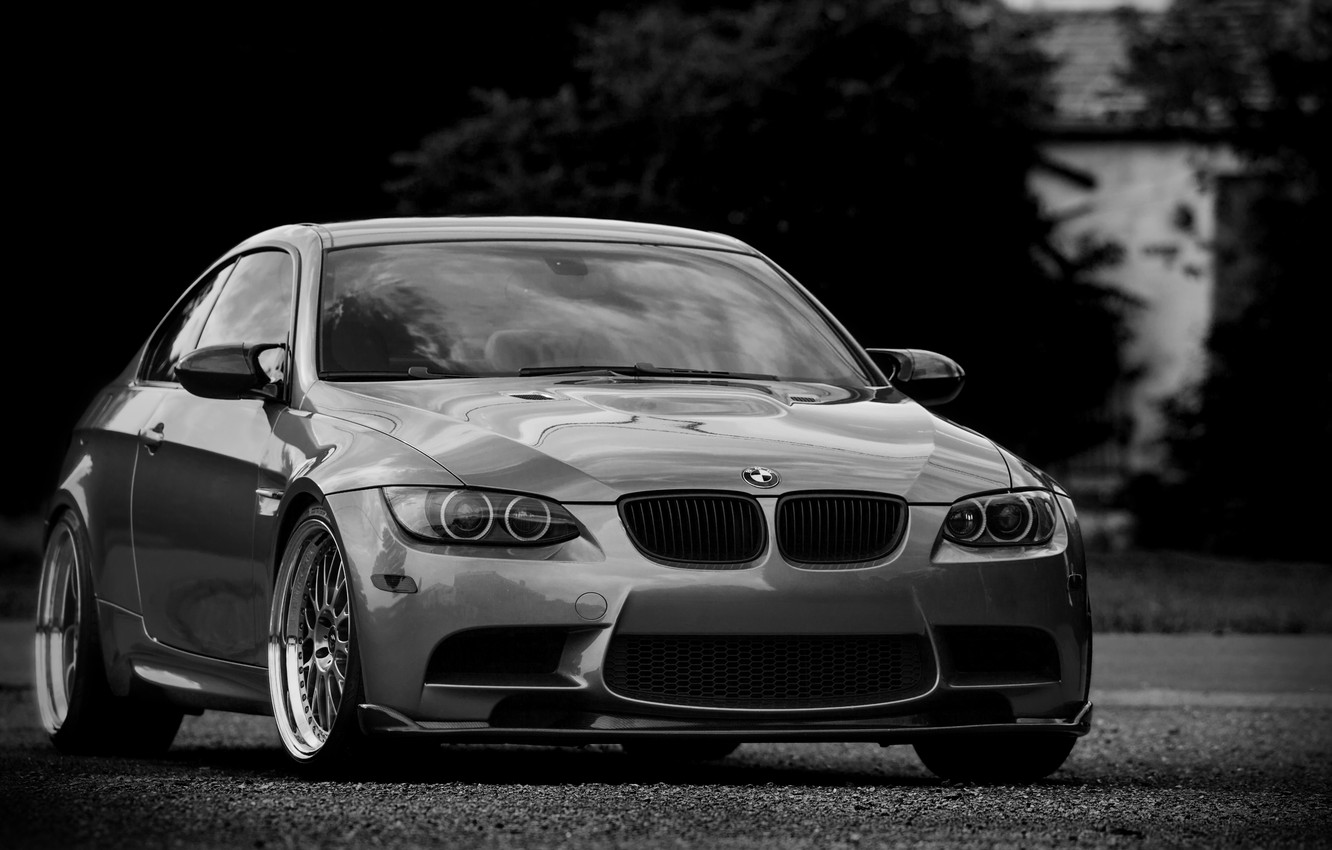 Photo wallpaper bmw, BMW, coupe, silver, wheels, drives, black and white photo, e92, silvery, tinted