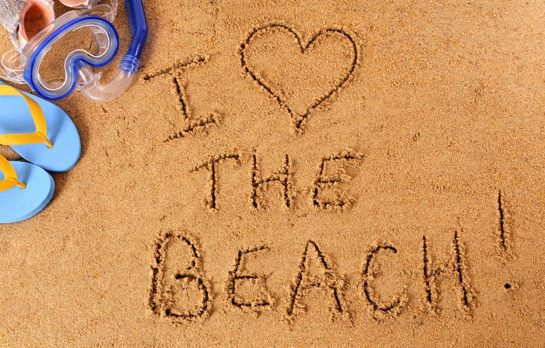 Photo wallpaper beach, sand, i love
