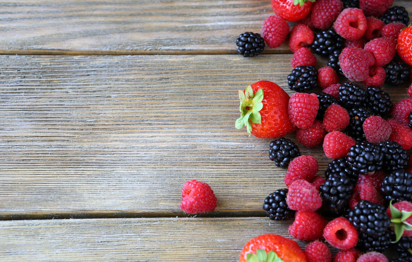 Photo wallpaper berries, raspberry, strawberry, fresh, BlackBerry, berries