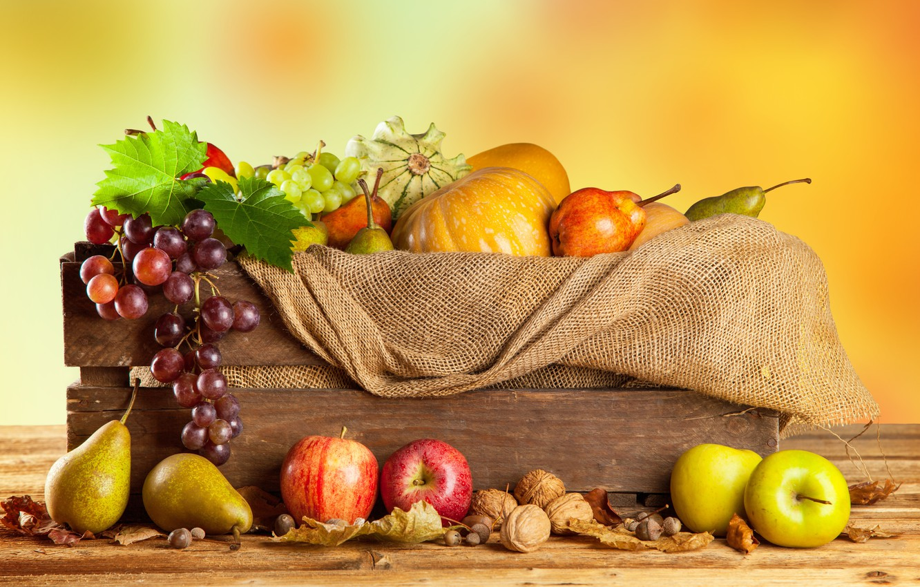 Photo wallpaper autumn, apples, harvest, grapes, pumpkin, fruit, nuts, box, vegetables, pear, burlap