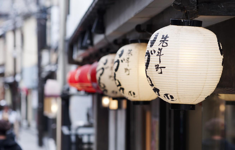 Photo wallpaper Japan, Kyoto, bokeh, memoirs of a geisha, Lanterns, Pontocho, Hanamachi, Nakagyo-ku