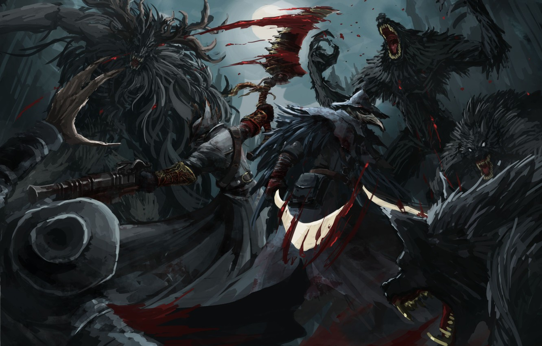 Photo wallpaper blood, monster, art, Bloodborne, FromSoftware