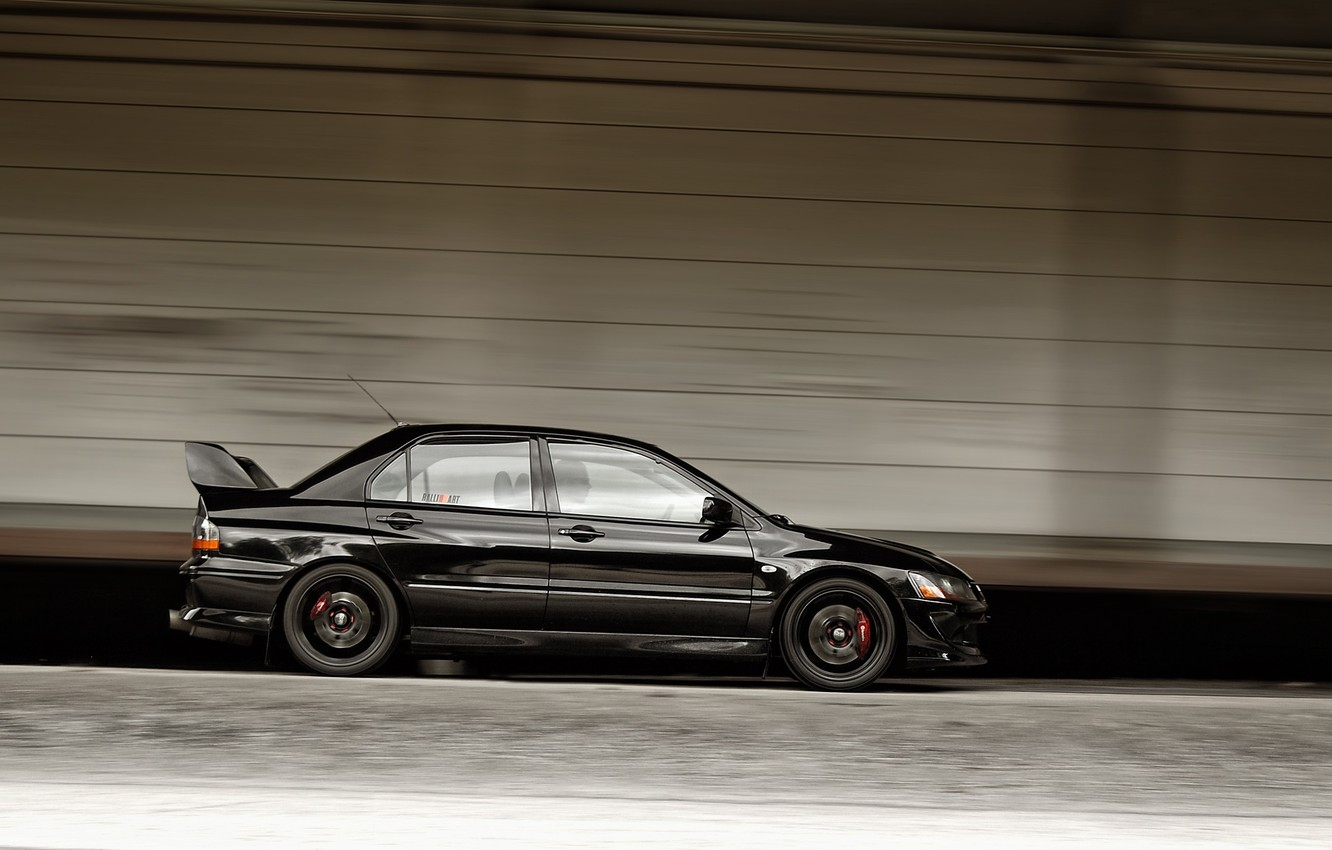 Photo wallpaper Auto, Black, Machine, Speed, Mitsubishi, Door, Speed, Side view, Lancer Evolution