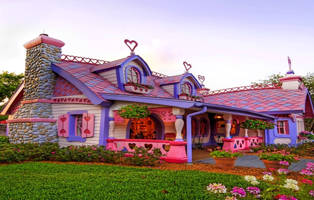 Photo wallpaper flowers, house, pink, hearts, house, fabulous
