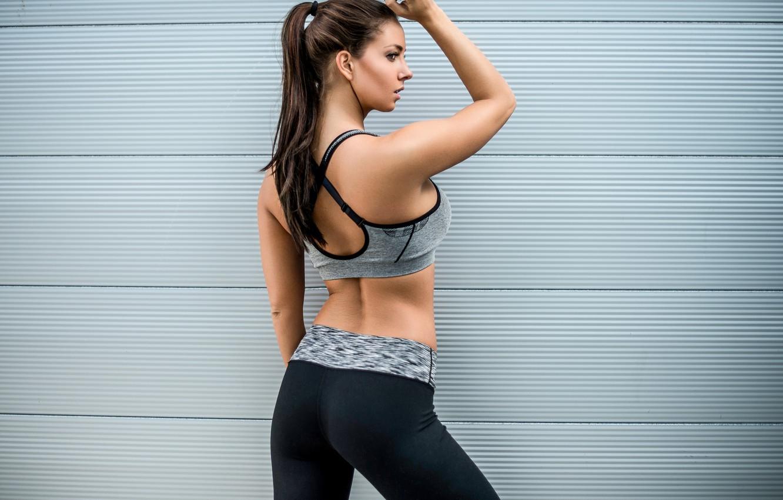 Photo wallpaper girl, face, background, back, figure, fitness, Janna Breslin
