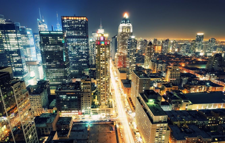 Wallpaper Night Lights New York Night New York City Usa