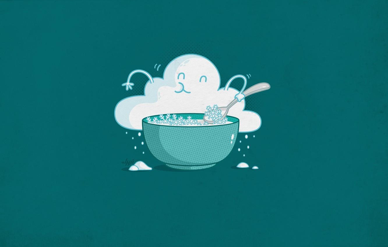 Photo wallpaper snow, minimalism, cloud, plate