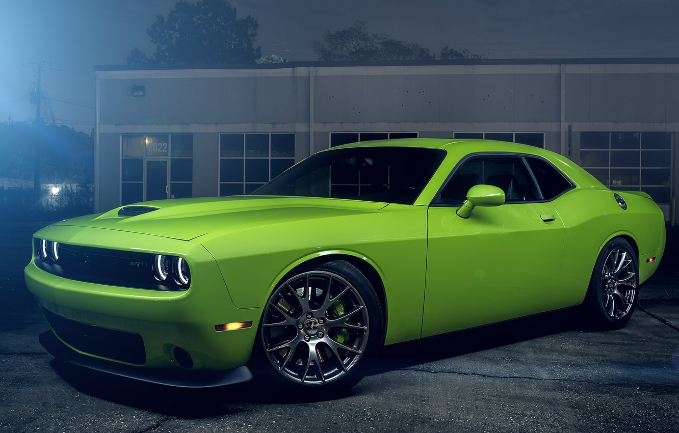Photo wallpaper Muscle, Dodge, Challenger, Hell, Car, Green, Color, Cat, American, SRT