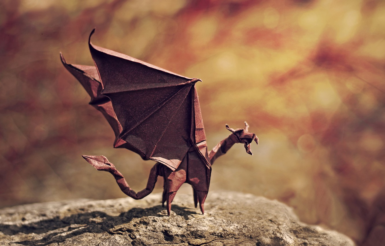 Photo wallpaper dragon, wings, shadow, evil, rock, rock, origami, wings, bokeh, bokeh, dragon, origami, shadow, angry, flame …