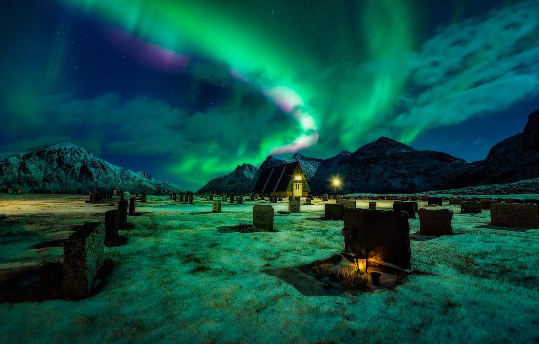 Photo wallpaper mountains, night, Northern lights, lantern, cemetery