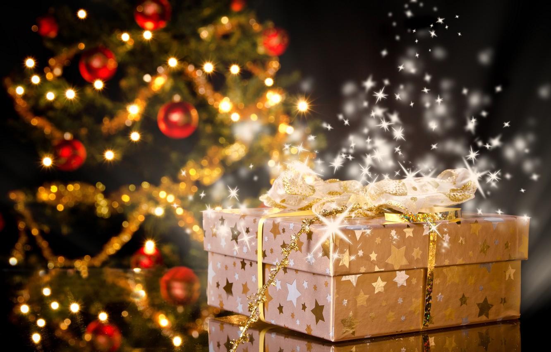 Photo wallpaper decoration, lights, mood, holiday, toys, Shine, tree, gifts