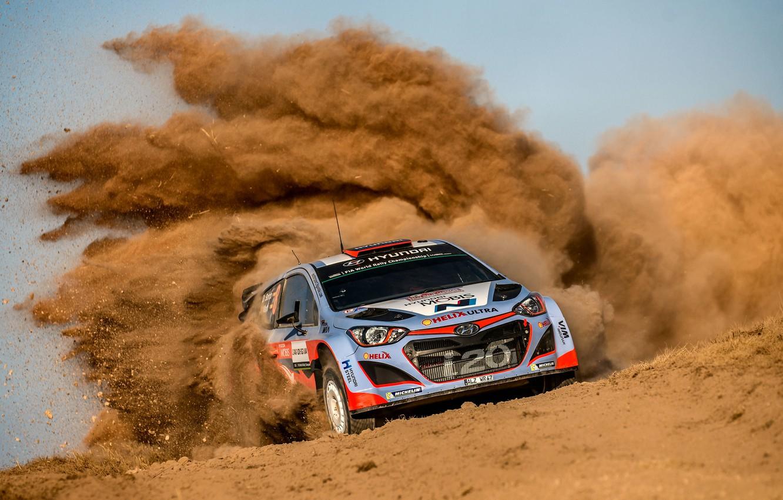 Photo wallpaper Dust, Hyundai, WRC, Rally, Rally, i20, Dani Sordo