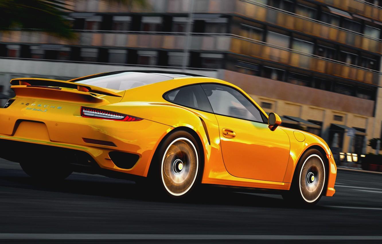 Photo wallpaper road, the city, speed, Porsche, Porsche 911, Turbo S