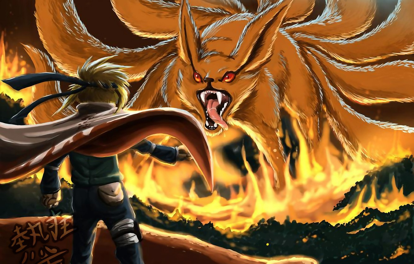 Photo wallpaper anime, naruto, nine-tailed, naruto, Minato, Namikaze, the fourth Hokage, Yondaime Hokage