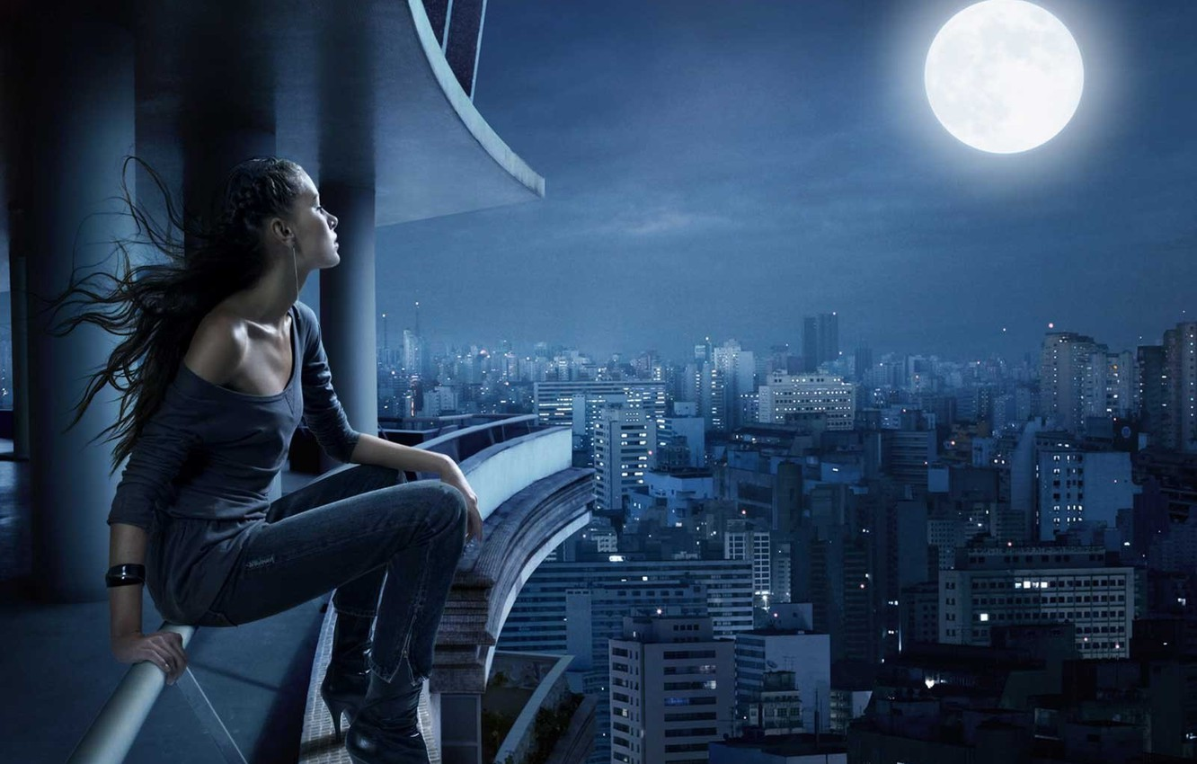 Photo wallpaper sadness, dream, night, the city, loneliness, the moon, silence
