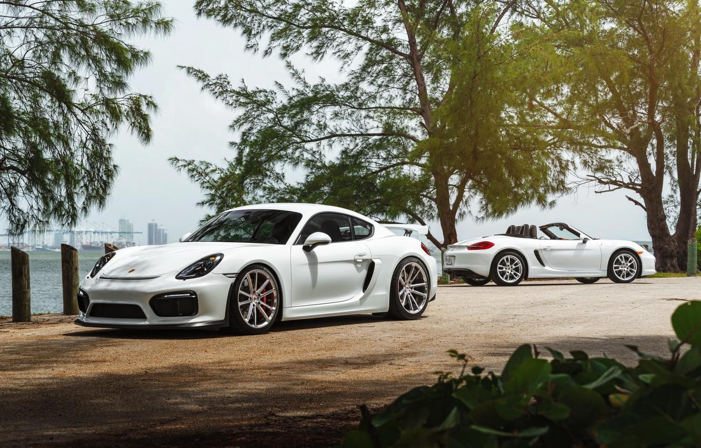 Photo wallpaper car, Porsche, White, roadster, William Stern, cayman GT4