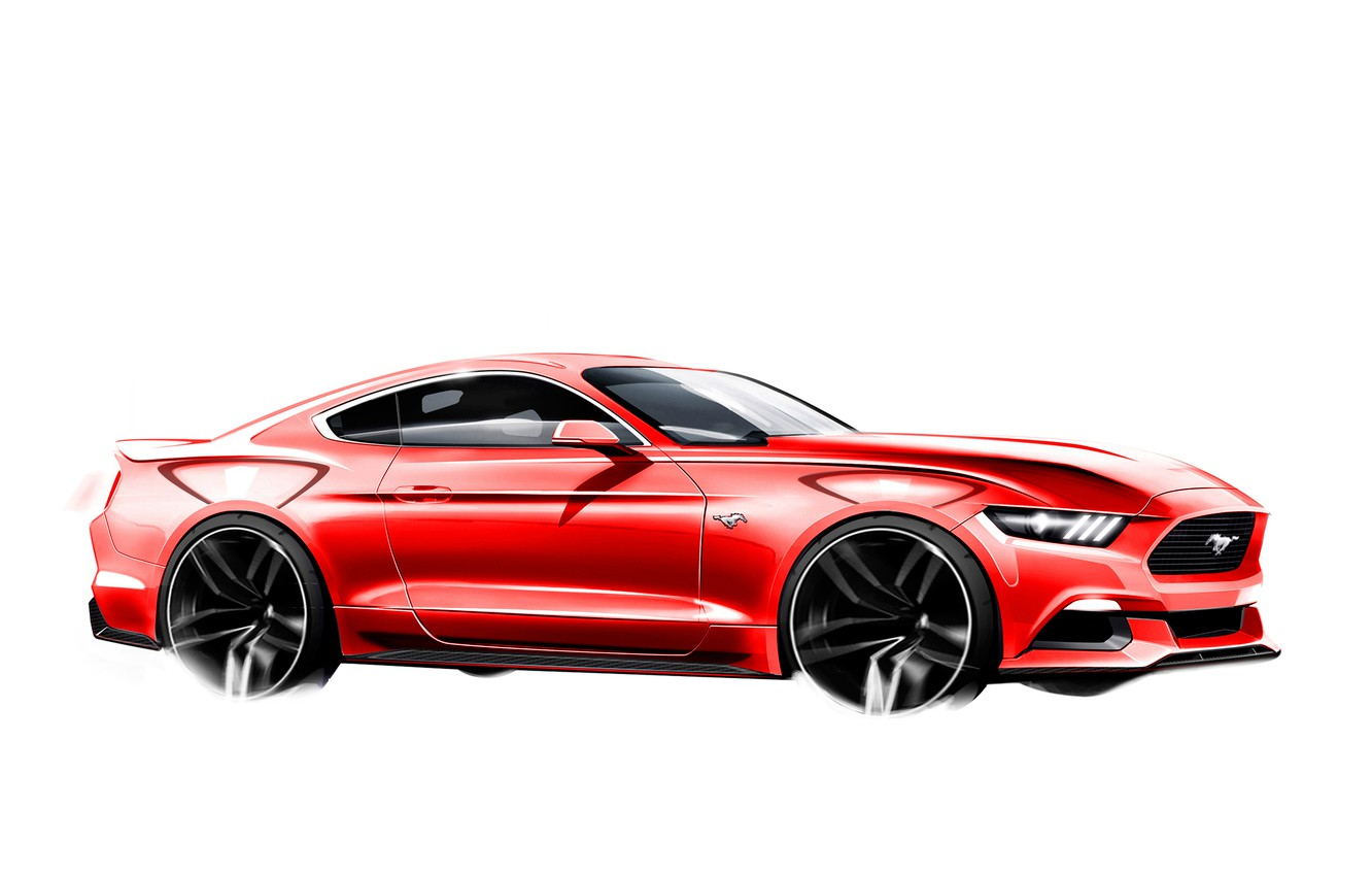 Photo wallpaper Mustang, Ford, The sketch, 2015