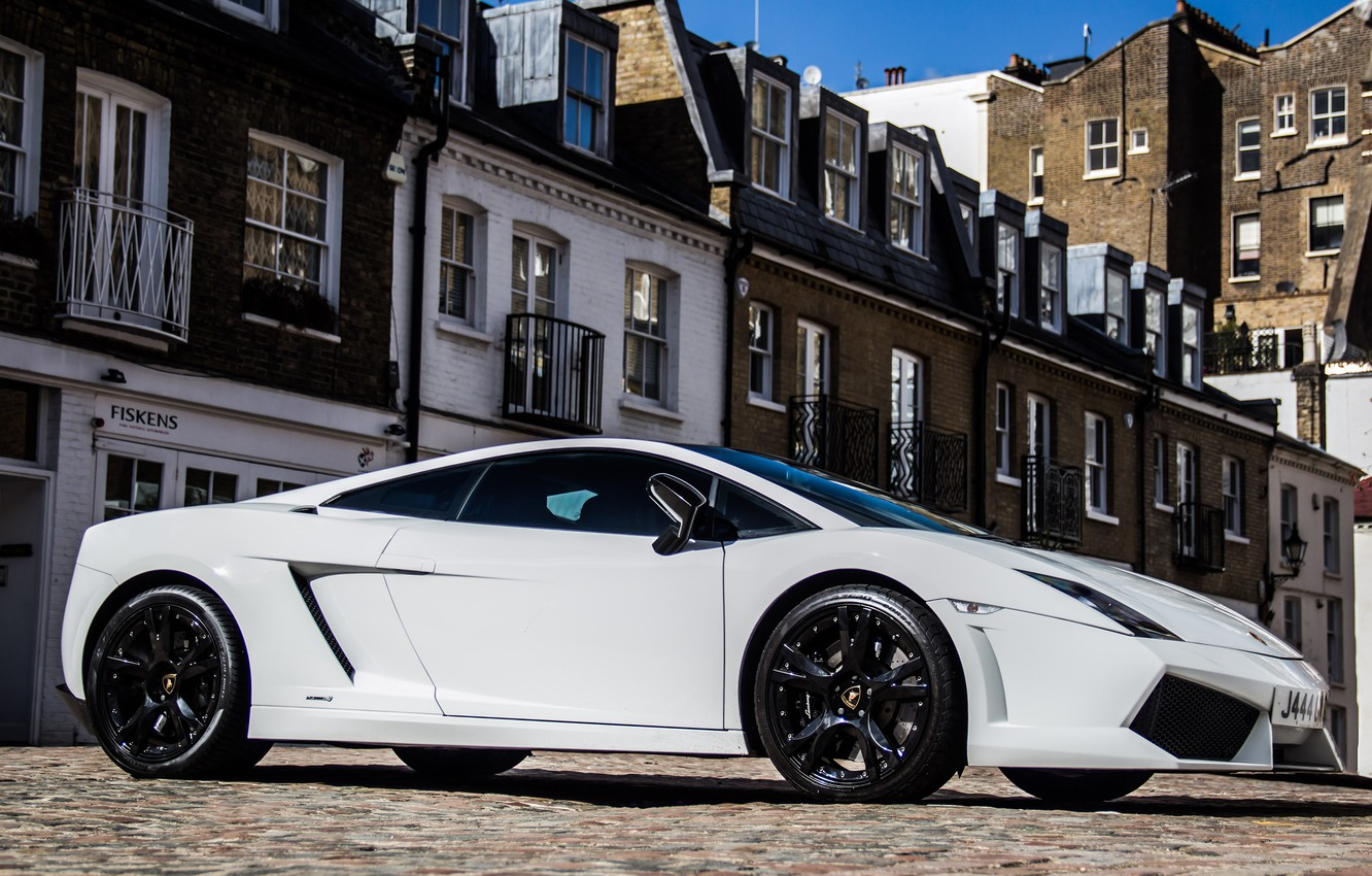 Photo wallpaper white, the sky, the building, Lamborghini, white, gallardo, sky, Lamborghini, building, lp560-4