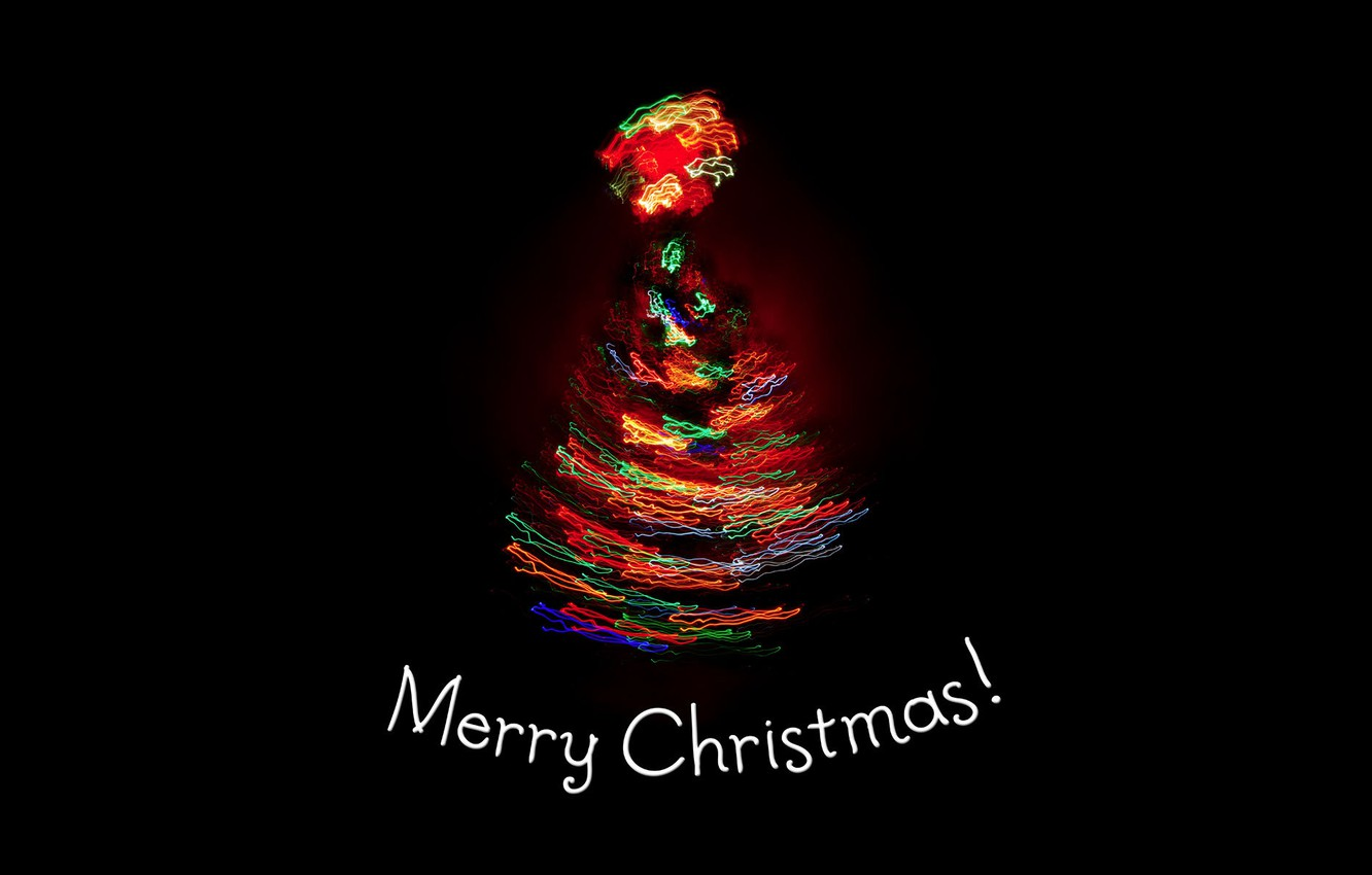 Photo wallpaper light, lights, holiday, tree, new year, spruce, black background, new year, merry christmas, holiday