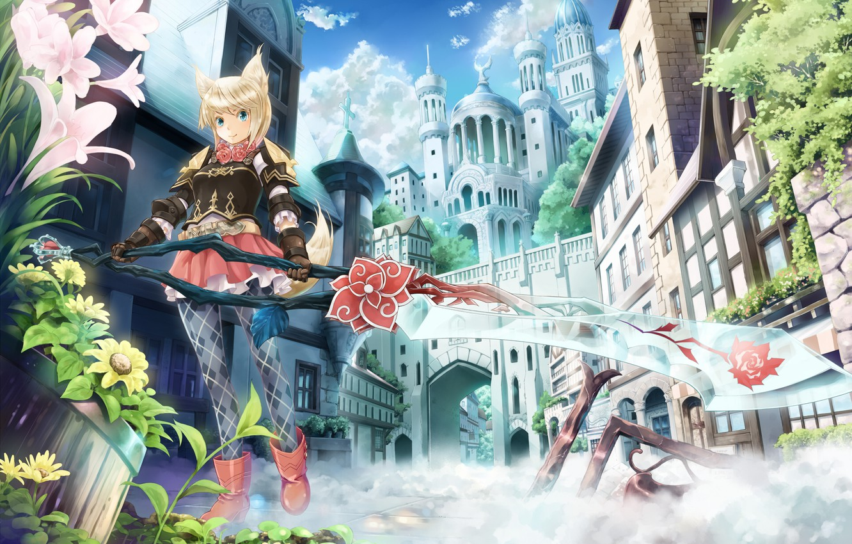 Photo wallpaper girl, flowers, the city, fog, weapons, castle, smoke, sword, fantasy, art, ears, neko, crystal, ryoukin
