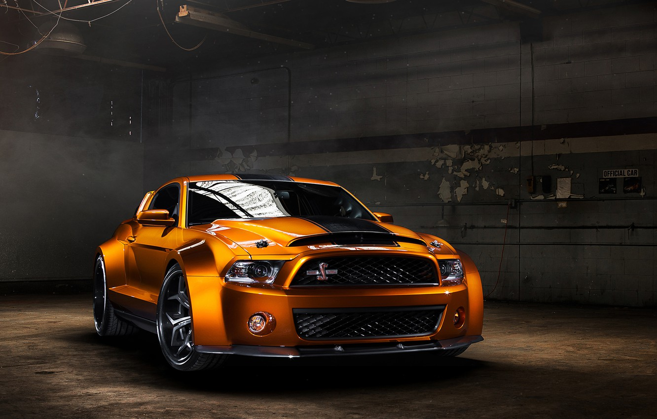 Photo wallpaper Mustang, Ford, Shelby, GT500, muscle car, muscle car, front, orange, kit, Super Snake, Ultimate Auto, …