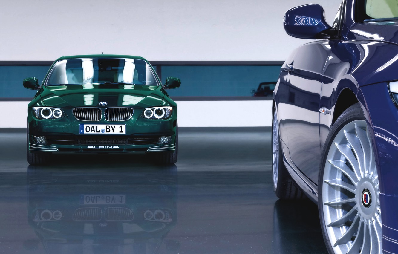 Photo wallpaper Reflection, Auto, Blue, BMW, Green, Machine, BMW, Lights, alpina, The front, 3 serie