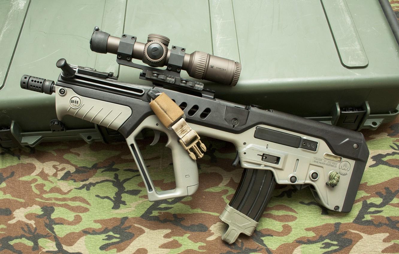 "Photo wallpaper weapons, machine, box, sight, rifle, assault, ""Tavor"", CTAR-21"