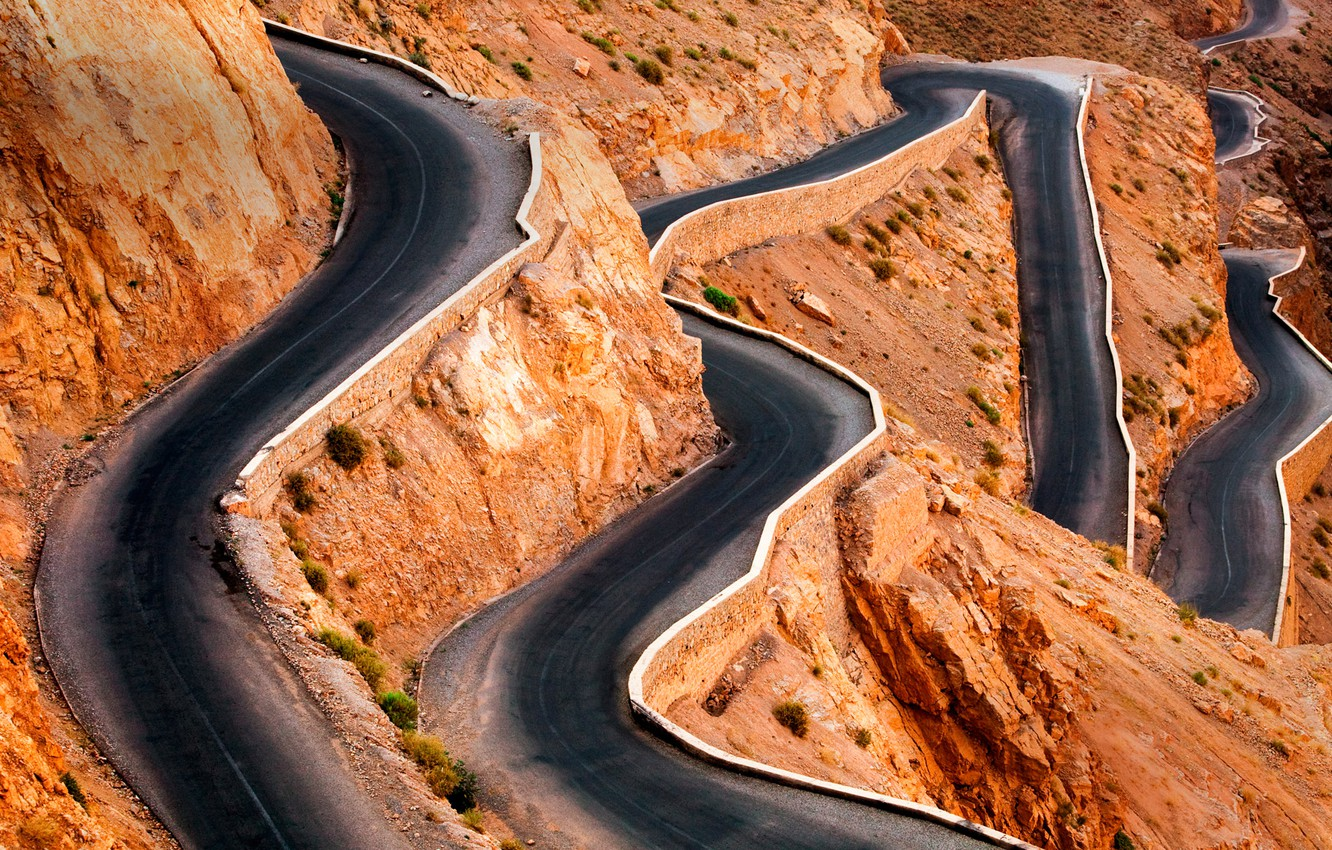 Photo wallpaper road, serpentine, Morocco, the gorge of dades, The Atlas mountains