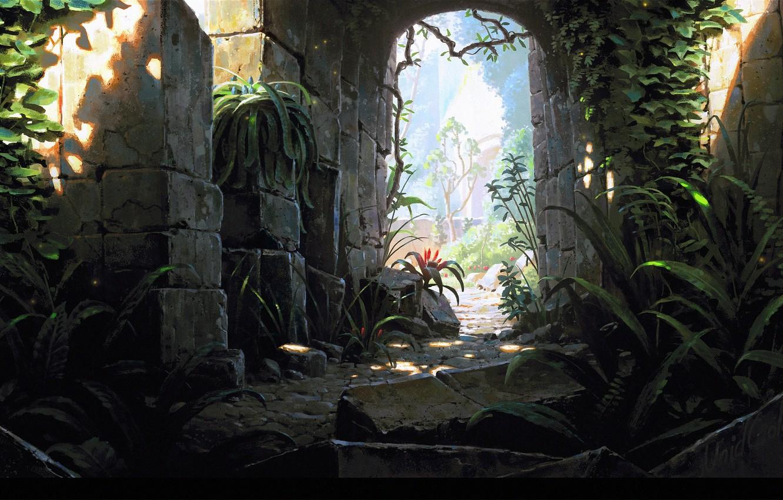 Photo wallpaper stones, castle, arch, ruins, Temple exit