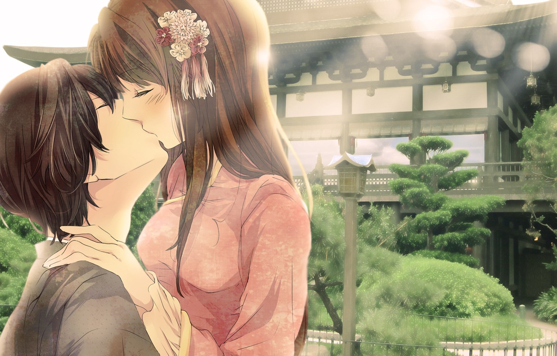 Photo wallpaper girl, love, kiss, guy