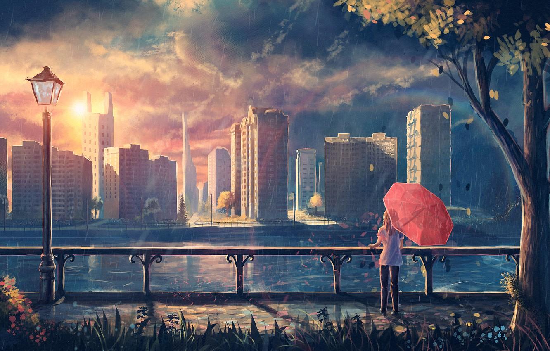 Photo wallpaper girl, the city, rain, tree, foliage, umbrella, art, lantern