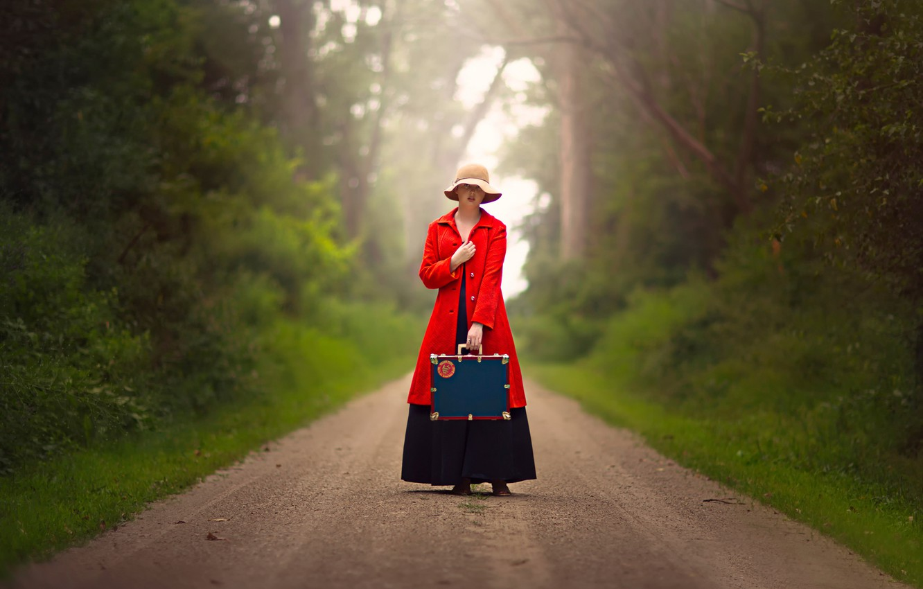 Photo wallpaper road, girl, suitcase, hat, in red