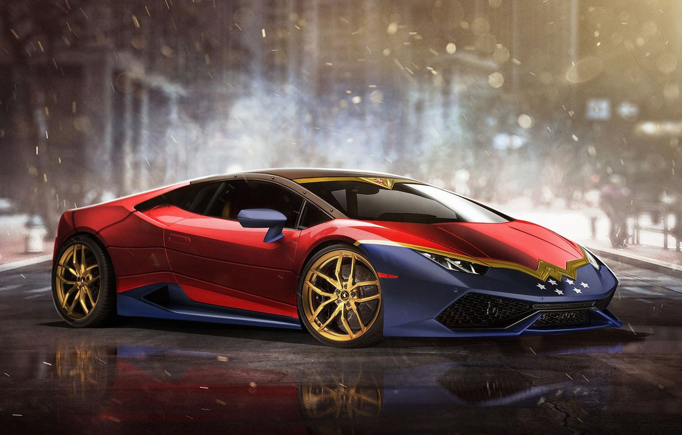 Photo wallpaper auto, Wonder Woman, Superheroes, auto, superhero, Marvel, Marvel, Lamborghini Huracan