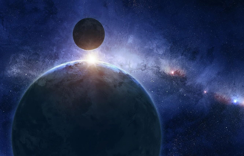 Photo wallpaper blue, cosmos, planet, sci fi