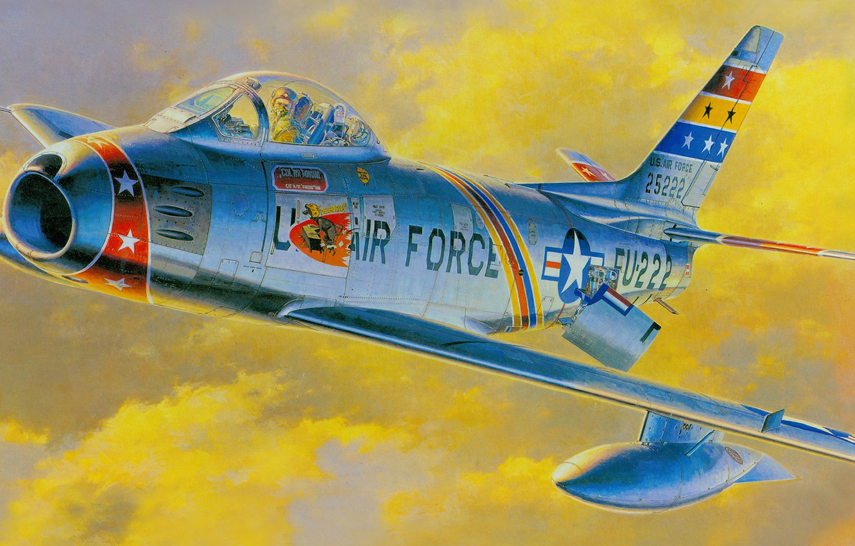 Обои painting, ww2, jet, Airplane, aviation, North american f-86d sabre, war, jet. Авиация foto 16