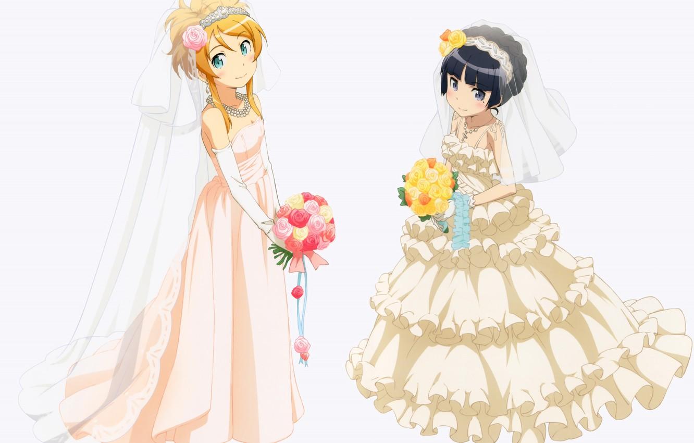 Photo wallpaper roses, bouquet, white background, the bride, veil, ruffles, ore no imouto ga konna ni kawaii …