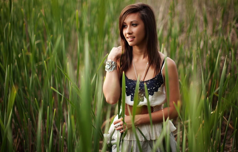 Photo wallpaper look, girl, nature, smile, plants, brunette