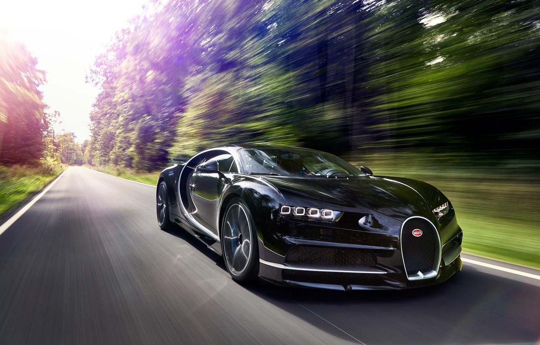 Photo wallpaper car, Bugatti, logo, supercar, speed, asphalt, Chiron, Bugatti Chiron