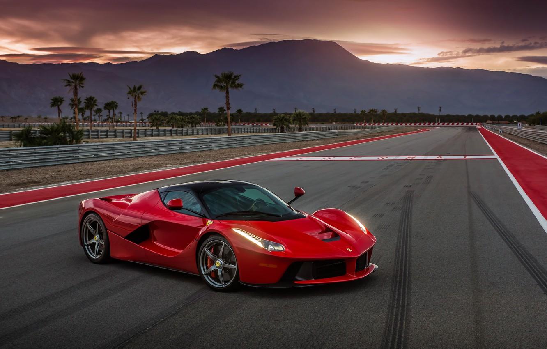 Photo wallpaper car, auto, Ferrari, supercar, red, Ferrari, track, LaFerrari